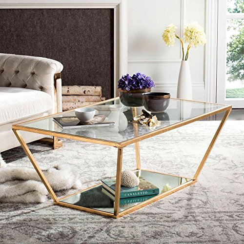 Safavieh Home Collection Allene Gold Leaf Retro Coffee Table
