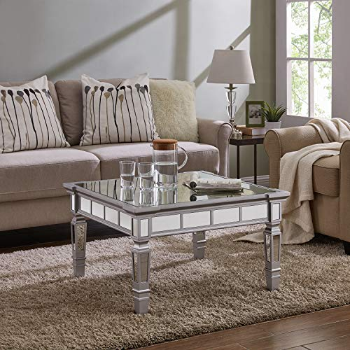 Southern Enterprises Glenview Square Mirrored Coffee Table, Silver