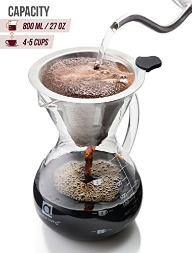 Cork Stainless Steel Filter Apace Living Pour Over Coffee Maker w Glass Carafe