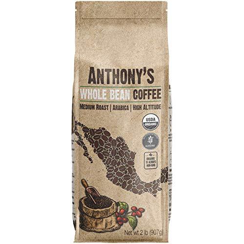 Anthony's Organic Whole Bean Coffee, 2lbs, Mexican Altura Arabica Beans, Medium Roast, Batch Tested Gluten Free
