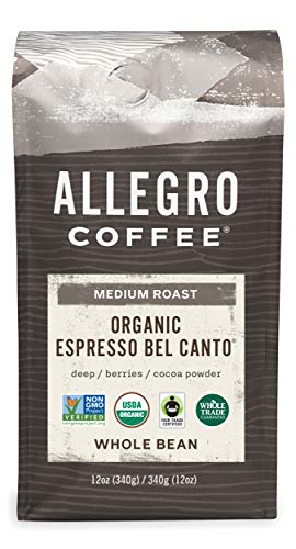 Allegro Coffee Organic Espresso Bel Canto Whole Bean Coffee, 12 oz