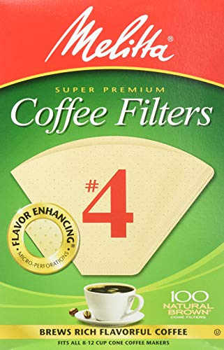 Melitta Cone Coffee Filters, Natural Brown #4, 300 Count (Pack Of 3)
