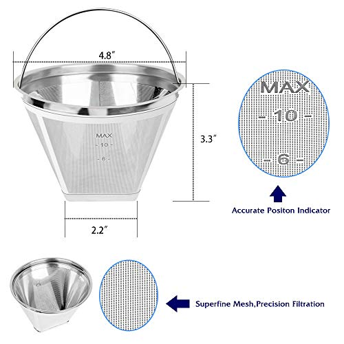 Upgrade Stainless Steel Reusable #4 Cone Permanent Coffee Filter Replacement for Cuisinart,Ninjia,Mr.Coffee,Hamilton Beach 8 10 12 14 Cup Cone Coffee Maker Filter /& #4 Cone Paper Filter