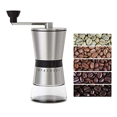 Kelad Manual Coffee Grinder with 15 Adjustable Settings for Fine to Coarse,Precision and Quiet Operation,Large Capacity(2.2OZ Coffee Beans) to Consistent Grind, Easy Hand Crank,Conical Ceramic Burrs and Stainless Steel Body,Portable Hand Mill for Travel ,Weekend Camping and Gift