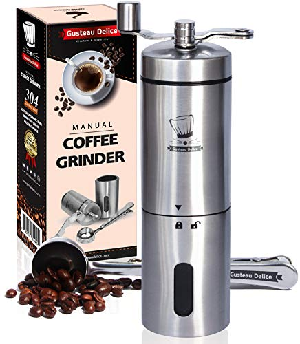 Manual Coffee Grinder By Gusteau Delice - Stainless Steel Versatile Hand Mill With Scoop - Adjustable Conical Ceramic Burr - Foldable Handle - Compact And Portable - Fast And Quiet Grinding Machine