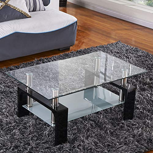 Mecor Rectangle Glass Modern Coffee Table with Shelf & Wood Legs Suit for Living Room Black
