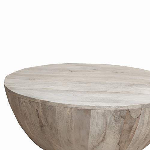 The Urban Port Light Brown Distressed Mango Wood Coffee Table In Round Shape Washed Sale Coffee Tables Shop Buymorecoffee Com