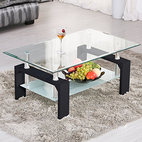 Mecor Rectangle Glass Coffee Table-Modern Side Coffee Table with Lower Shelf Black Wooden Legs-Suit for Living Room