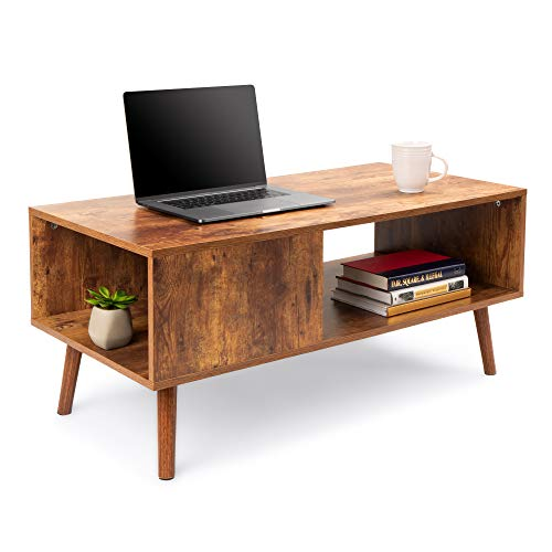 Best Choice Products Wooden Mid-Century Modern Retro Coffee Accent Table, Indoor Furniture for Living Room w/Open Storage Shelf