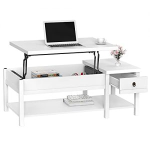 Coffee Table with Storage Drawer with Hidden Compartment and Storage Shelf