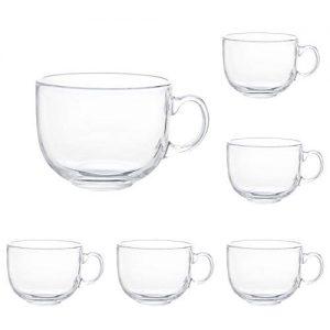 16oz Glass Jumbo Mugs With Handle
