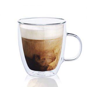 SAKI Glass Coffee Mugs - 12 oz Double Wall Insulated Mug