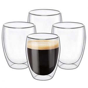 Glass Coffee Mugs 12 OZ - Set of 4, Double Wall
