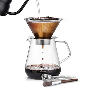 Brewer Pour Over Coffee Dripper with Separable Paperless Coffee Filter with Glass