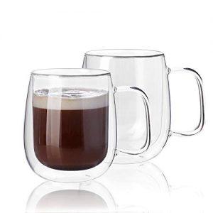 Kanwone Large Glass Coffee Mugs - 14 Ounce