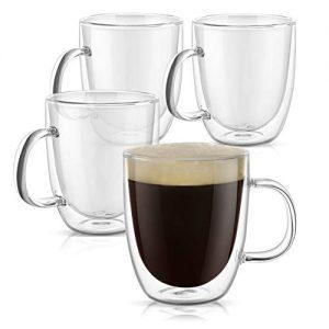 PunPun Glassware Large Clear Coffee Mugs Set of 4