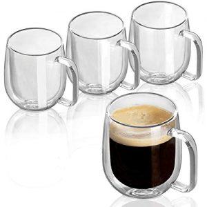 Double Wall Glasses Clear Coffee Mugs Tea Cups Set
