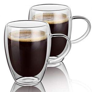 double wall glass coffee mugs with Handle