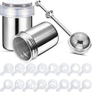 2 Pieces Stainless Steel Powder Shaker Sugar Shaker