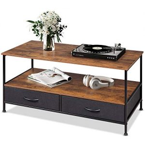 Wood and Metal Cocktail Table with Storage Shelf