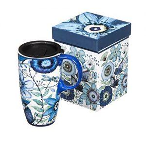 Flowers and Butterflies Ceramic Travel Coffee Mug