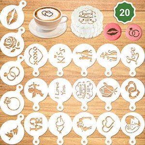 Konsait 20Pack Valentine's Day Cake Stencil Templates Decoration