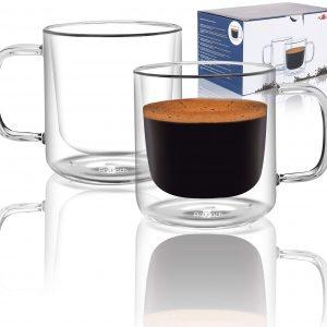 Aquach Thickened Double Wall Coffee Glass Mugs
