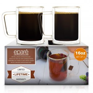 16 oz Glass Coffee Mugs Set of 2 - Clear Double Wall Glasses