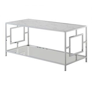 Town Square Coffee Table with Shelf Chrome Frame