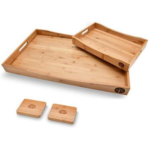 Wooden Coffee Serving Tray Set Bamboo with 2 Coasters