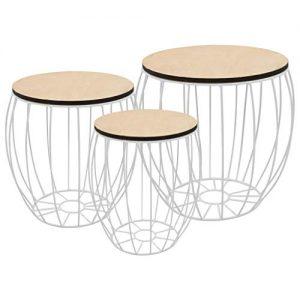 Plywood Iron White Coffee Table Set