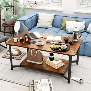 Vintage Oak Finish Coffee Table with Open Shelf